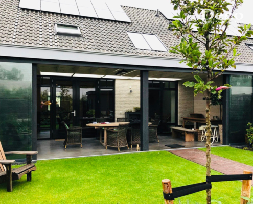 Glaswand in terrasoverkapping Rosmalen